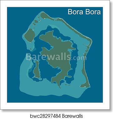 Map of Bora Bora art print poster