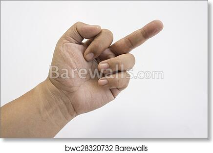 Art Print Of Swear Word Rude Finger Human Hand Middle Concept