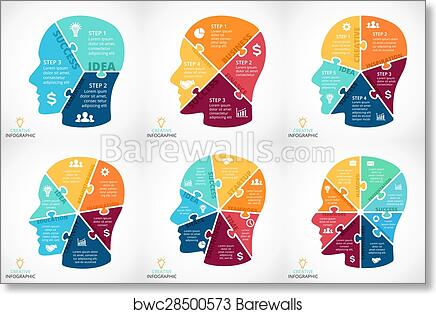Art Print Of Vector Puzzle Human Face Infographic Cycle