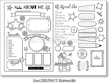 graphic regarding Printable All About Me titled All regarding me. Higher education Printable artwork print poster