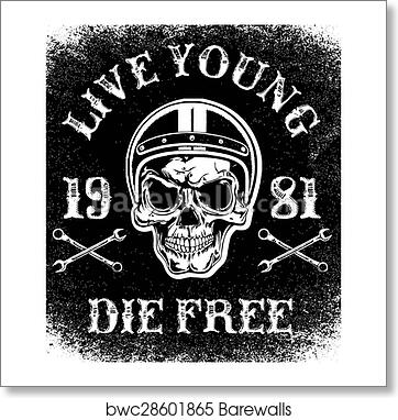 art print of motorcycle racing typography graphics and poster skull