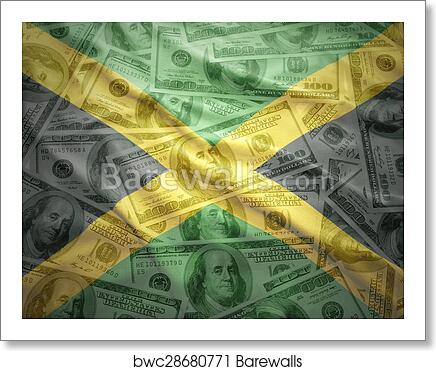 Art Print Of Colorful Waving Jamaican Flag On A American Dollar Money Background