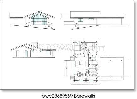 Art print of house plan background barewalls posters prints art print of house plan background malvernweather Images