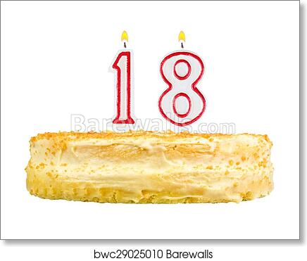 Art Print Of Birthday Cake Candles Number Eighteen Isolated