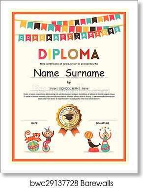 art print of preschool elementary school kids diploma certificate
