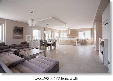 Art Print Of Commodious Room With Suede Sofa