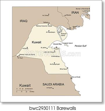 Kuwait, Major Cities and Capital and Surrounding Countries art print poster