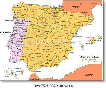 Spain And Portugal With Administrative Districts And Surrounding Countries Art Print Poster