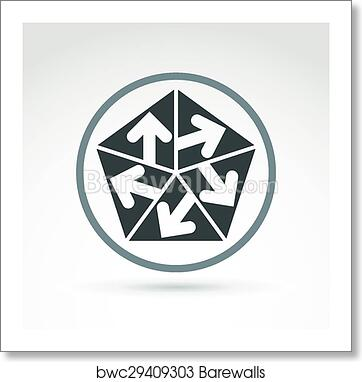 Vector abstract emblem with five multidirectional arrows placed in  isosceles triangles – up, down, left, right  Conceptual corporate symbol,  brand