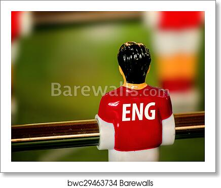 factory authentic f3dec ef57e England National Jersey on Vintage Foosball, Table Soccer Game art print  poster