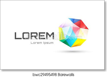 Art Print of Vector globe abstract logo template. Tetrahedron 3d ...