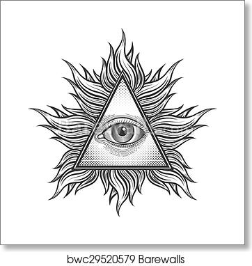 Art Print Of All Seeing Eye Pyramid Symbol In The Engraving Tattoo