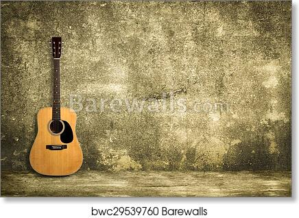 Art Print of Acoustic guitar against old wall | Barewalls Posters ...