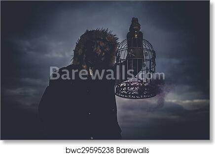 Art Print Of Zombie, Man With Mask Wolf And Lamp With Colored Smoke    Barewalls Posters U0026 Prints   Bwc29595238