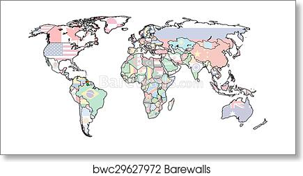 Art Print Of Guyana Territory On World Map Barewalls Posters