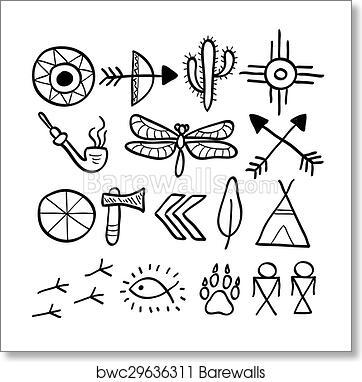 Art Print Of Hand Drawn Doodle Vector Native American Symbols Set