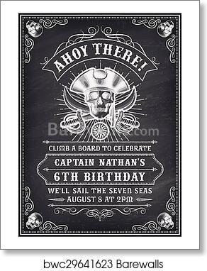 art print of chalkboard death pirate invite 2 barewalls posters