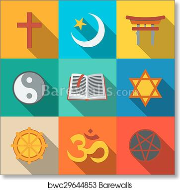 Art Print Of World Religion Symbols Flat Set Christian Jewish