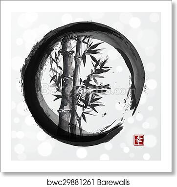 d904ebd960c6f Bamboo tree in enso zen circle , Art Print | Barewalls Posters ...