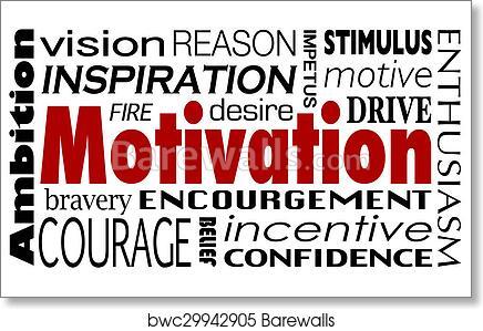 art print of motivation word collage inspiration encouragement drive