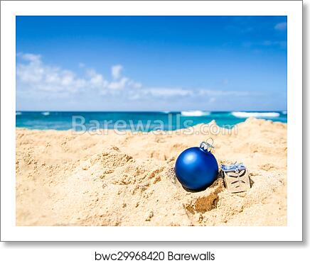 Christmas And Happy New Year Background On The Tropical Beach Art Print Barewalls Posters Prints Bwc29968420