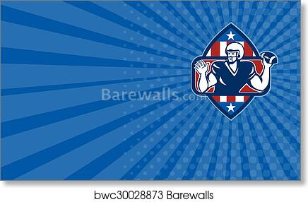 Business Card American Football Quarterback Throw Ball Art Print Poster