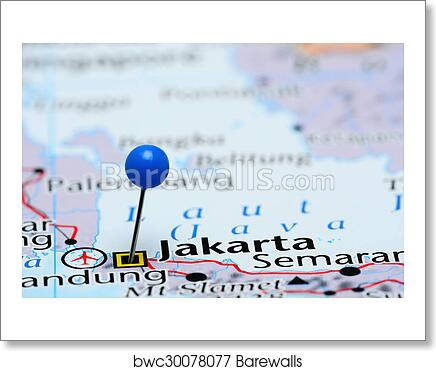 Map Of Asia Jakarta.Jakarta Pinned On A Map Of Asia Art Print Barewalls Posters