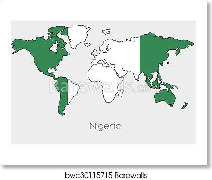 Art Print Of Flag Illustration Inside The Shape Of A World Map Of