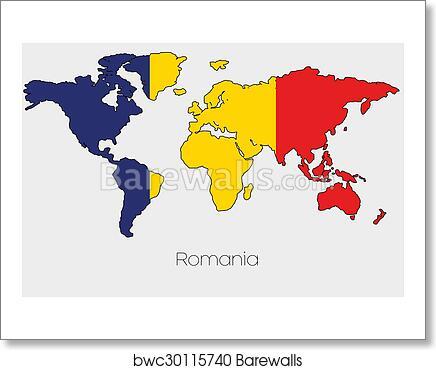 Art print of flag illustration inside the shape of a world map of art print of flag illustration inside the shape of a world map of the country of romania gumiabroncs Choice Image