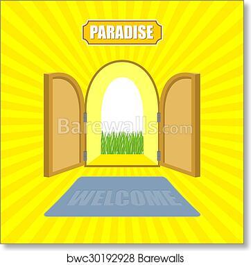 open front door illustration open gates of paradise gardens mat in front door von glow solar entrance to god vector illustration on religious topics art print welcome paradise gardens