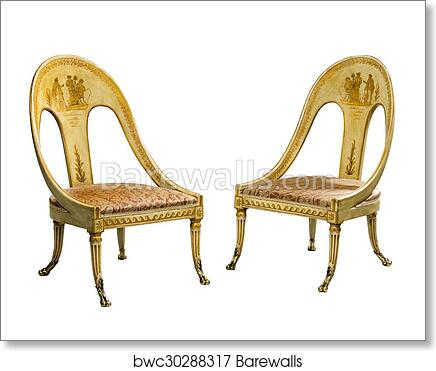 Pair Antique Vintage Painted Egyptian Style Chairs Isolated On White Art Print Poster