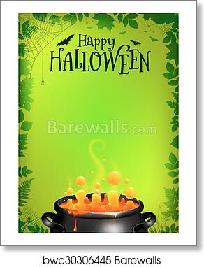 art print of green halloween poster template with orange potion in