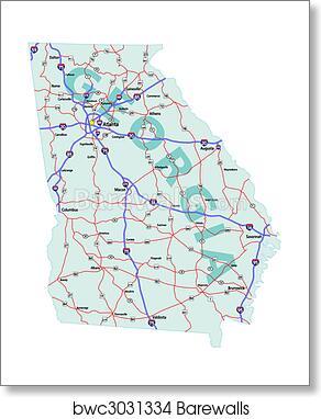Georgia State Interstate Map art print poster