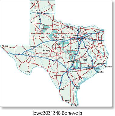 Road Map Of Texas State.Texas State Road Map Art Print Poster