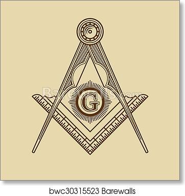 Art Print Of Masonic Freemasonry Emblem Icon Logo Vector