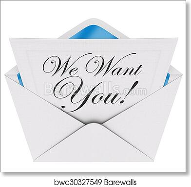 Art print of we want you invitation letter envelope need your art print of we want you invitation letter envelope need your participation join team group stopboris Choice Image