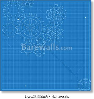 Art print of decorative blueprint with schematic gears on graph art print of decorative blueprint with schematic gears on graph paper malvernweather Images