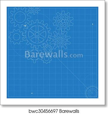 art print of decorative blueprint with schematic gears on graph