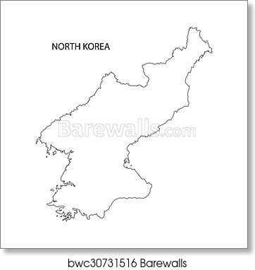 Outline Of North Korea Map Art Print Barewalls Posters Prints