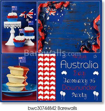 art print of happy australia day deisgner pack collage with three