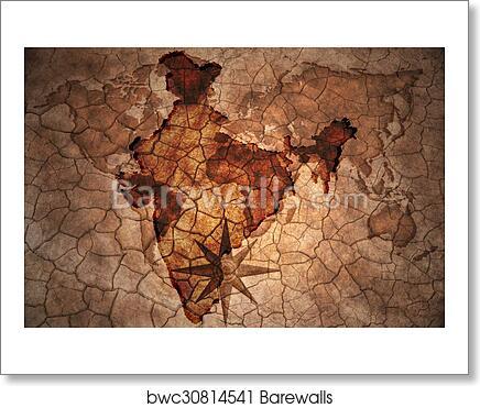 Art print of vintage india map barewalls posters prints art print of vintage india map gumiabroncs Choice Image