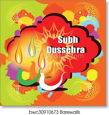 Art print of dussehra vector greeting card barewalls posters art print of dussehra vector greeting card m4hsunfo