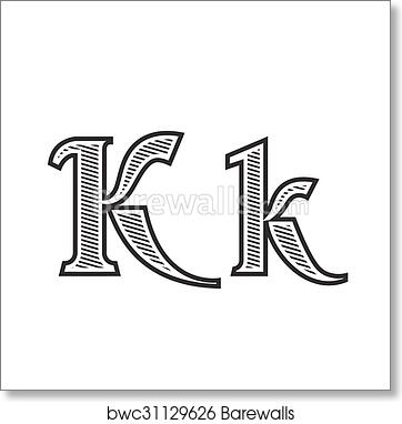 Font Tattoo Engraving Letter K With Shading Art Print Barewalls