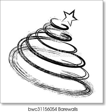 Drawing Christmas Tree Sketch.Abstract Drawing Christmas Fir Tree Black Silhouette With Sketch Effect Art Print Poster