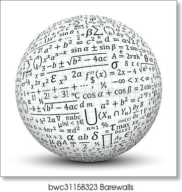 Art Print Of White Sphere With Math Symbol Texture Barewalls