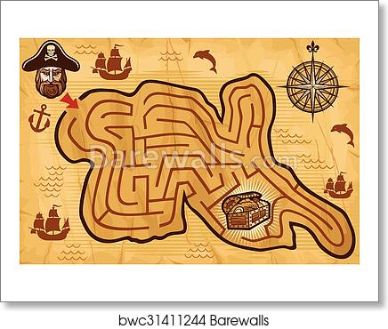 Pirate Maze For Kids With Map Art Print Barewalls Posters