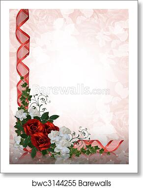 Art Print Of Wedding Invitation Border Red Roses Barewalls Posters