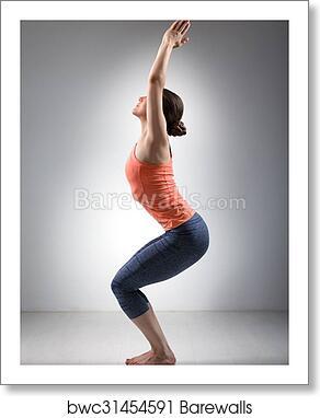 Woman Doing Ashtanga Vinyasa Yoga Asana Utkatasana Art Print Barewalls Posters Prints Bwc31454591