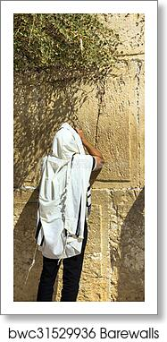 Unidentified jewish worshiper in tallith praying at the Wailing Wall an  important jewish religious site art print poster