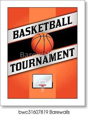 art print of basketball tournamet flyer poster illustration